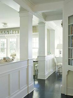 Define Spaces with Half-Walls, transitional elements and room dividers Home Renovation, Home Remodeling, My Living Room, Living Spaces, Demis Murs, Load Bearing Wall, Style Deco, Half Walls, Wainscoting