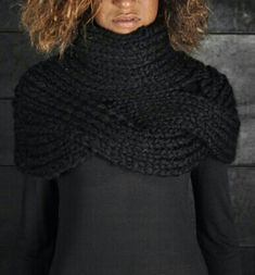 Masnada - Collar/Skirt - -PNP, fashion stores in Florence Cowl Scarf, Knit Cowl, Knitted Shawls, Crochet Scarves, Crochet Shawl, Crochet Clothes, Knit Crochet, Pull Torsadé, How To Purl Knit