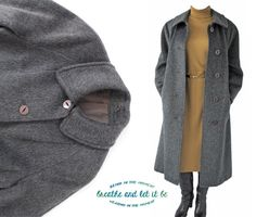 Vintage Dark Grey Llama Wool Long Coat  Size by BreatheandLetItBe