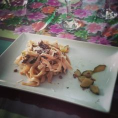 Home made pasta with white ragout and courgettes.