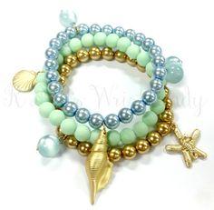 Sea Life Bracelet Bracelet Set Beach Jewelry by RandRsWristCandy $12
