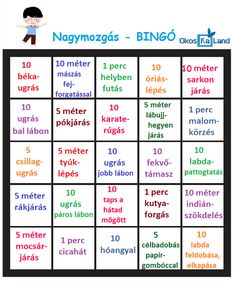 nagymozgás - mozgáskártyák Pe Activities, Craft Activities For Kids, Projects For Kids, Teaching Kids, Kids Learning, Kids Gym, Sensory Integration, Play To Learn, Educational Games