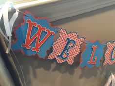 Orange and Blue Circus Themed Banner by TookiesLLC on Etsy
