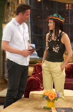 Monica Geller and Chandler Bing - Barbados hair... lol that's true love right there.