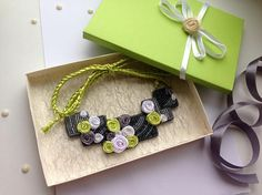 Beautiful Beaded Felt Necklace with Satin Roses Necklace in