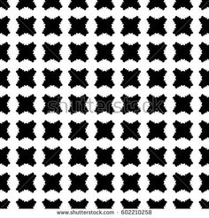 Vector monochrome texture, checked seamless pattern with simple black plump rounded shapes on white backdrop. Illustration of grate. Abstract endless background. Design for prints, decor, textile, web