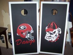 UGA Cornhole Boards by handmadesbyKaren on Etsy