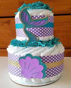 Mermaid Diaper Cake Little Mermaid Baby Shower Seashells