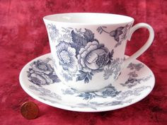 Blue Victorian Breakfast Size Roy Kirkham Cup And Saucer English Bone China New Large