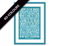 Walden by Henry David Thoreau Art Print - Went to the Woods - Walden Pond - Inspirational Motivational - Literature Quote Art - Nature Print by FolioCreations on Etsy