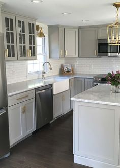 grey kitchen cabinets backsplash marble 31 best gray images kitchens we love this stylish with goldhardware small island