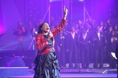 Sinach ministering to the congregation. And the ministration was power filled.