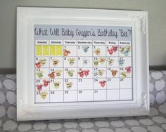 Due Date prediction calendar - Great idea for a baby shower game!