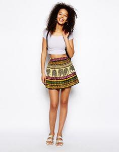 ASOS Flippy Skater Skirt In Elephant Print. Cute