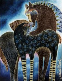 Indigo Sky Mares by Laurel Burch - horse art Arte Equina, Wal Art, Art Et Illustration, Illustrations, Inspiration Art, Laurel Burch, Equine Art, Grafik Design, Horse Art