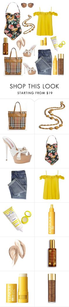 """""""Sans titre #458"""" by carolinesaracosa77 on Polyvore featuring mode, Burberry, Chanel, Gianmarco Lorenzi, Miss Selfridge, Topshop, Supergoop!, Clinique, By Terry et St. Tropez"""