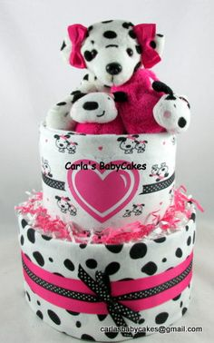 Girl diaper cake | Puppy diaper cake | Baby shower decoration | Baby diaper cake…