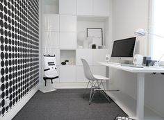 From Modernisti kodikas -blog/ asuntomessut 2016 Cubo Home Office, Office Workspace, Office Decor, Living Room Designs, Living Spaces, Teenage Room, Study Rooms, H & M Home, Extra Rooms