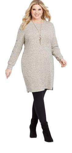 cecde4abd89 maurices Women s Plus Size Button Sleeve Sweater Dress