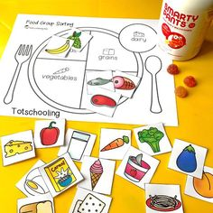 nutrition healthy eating FREE sorting activity for preschool and kindergarten to learn about the five main food groups. Teach kids about healthy eating and balanced meals. Sport Nutrition, Kids Nutrition, Health And Nutrition, Nutrition Month, Nutrition Quotes, Nutrition Program, Nutrition Guide, Sorting Activities, Activities For Kids