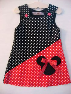 Baby Dress Similar products like Red / Black Minnie Mouse Dress on Etsy Little Dresses, Little Girl Dresses, Girls Dresses, Baby Sewing, Sewing For Kids, Sewing Clothes, Doll Clothes, Girl Dress Patterns, Frock Design