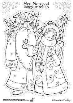 Dessin à colorier d'un des héros de Noël, Grand-Père Gel et Petite Neige - Hugolescargot.com
