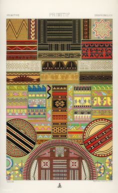 Primitive pattern from L'ornement Polychrome (1888) by Albert Racinet (1825–1893). Digitally enhanced from our own original 1888 edition. | free image by rawpixel.com