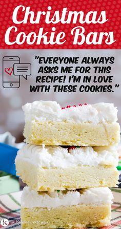 Köstliche Desserts, Holiday Desserts, Holiday Recipes, Delicious Desserts, Dessert Recipes, Bar Cookie Recipes, Bar Recipes, Recipies, Sugar Cookie Bars