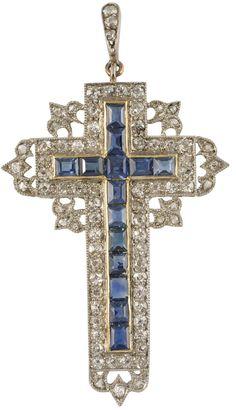 Victorian Sapphire, Diamond and Pinchbeck Cross, United Kingdom, circa 1900.