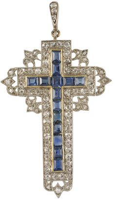 Victorian Sapphire, Diamond and Pinchbeck Cross, United Kingdom, circa 1900.