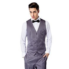 Dark Gray Solid Tailored Fit Vest In Polyester – USD $ 45.99