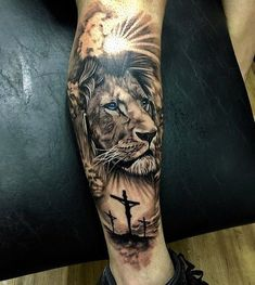 Lion tattoos hold different meanings. - Lion tattoos hold different meanings. Lions are known to be proud and courageous creatures. Lion Leg Tattoo, Lion Shoulder Tattoo, Lion Forearm Tattoos, Lion Tattoo Sleeves, Lion Head Tattoos, Mens Lion Tattoo, Leg Tattoo Men, Best Sleeve Tattoos, Lion Tattoos For Men