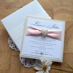 Luxury Wedding Invitation with Presentation Box Card Invite Classic Modern Elegant Couture White Ivory Pink Ribbon Pearl. SAMPLE