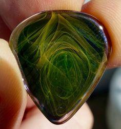 Silica Sound Glass Guitar Pick Ghost Flame Closeup