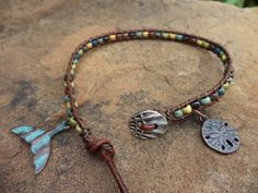 Whale Tail Sand Dollar Leather Bohemian Anklet by Ankletheaven