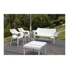 Plastové židle OLINA V TREND Lněná + lavice, zátiší Outdoor Chairs, Outdoor Furniture Sets, Outdoor Decor, Canapé Design, Terrazzo, Sun Lounger, House Styles, Home Decor, Html