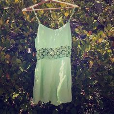Lime green romper Lime green romper with side pockets and open floral middle .sry no trades LF Tops