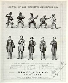 "The Virginia Minstrels are generally credited with putting on the first minstrel show, lining up four actor/musicians in a row, with ""Bones"" at one end and ""Tambo"" at the other. They first appeared on stage with this act in 1842.  This group was an early imitator; the sheet music is dated 1844. It was common in pictures to show minstrels in both their ""whiteface"" and ""blackface"" identities."