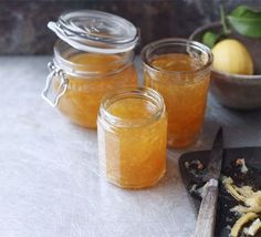 Lemon marmalade, boil in quarters for 1.5 hours, then squeeze out juice and boil with sugar for 1/2 hour. BBC recipe that is very popular.  To use with non-Meyer lemons.