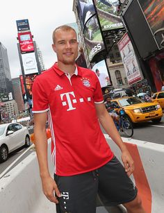 Holger Badstuber of FC Bayern Muenchen is pictured at the Times Square during the AUDI Summer Tour USA 2016 on July 31 2016 in New York City United...