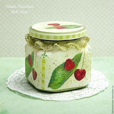 """Купить Баночка """"Ягодка"""" - зеленый, баночка, баночка стеклянная, баночка для чая, баночка для специй, ягода"""