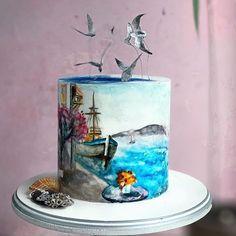 Fondant Flower Cake, Fondant Cakes, Cupcake Cakes, Pretty Cakes, Beautiful Cakes, Amazing Cakes, Cake Icing Techniques, Pool Cake, Artist Cake