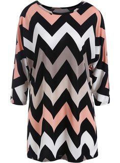 Black Round Neck Zigzag Print Loose Dress -SheIn(Sheinside) Mobile Site