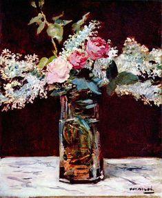 Reproduction de Manet, Nature Morte Avec Lilas Et Roses. Tableau peint à la main dans nos ateliers. Peinture à l'huile sur toile.