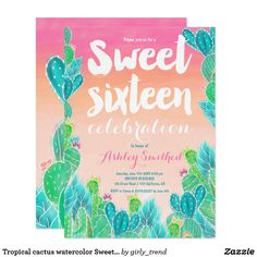 Tropical cactus watercolor Sweet 16 birthday invitation Card