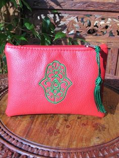 Moroccan leather purse in red