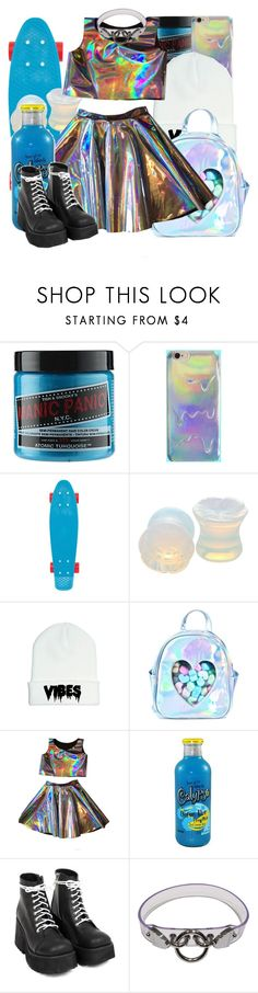 """""""H O L O"""" by chemicalfallout249 ❤ liked on Polyvore featuring Manic Panic NYC, Roxy, Hot Topic and Sugarbaby"""