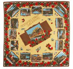 Vintage Colorful Souvenir Scarf From Salzburg Austria by PastPrezence on Etsy