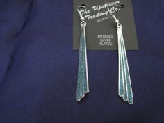 Long Dangling Silver Plated Abalone Earrings