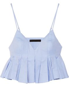 In luv with Alexander Wang Cropped pleated cotton top Cropped Tops, Alexander Wang, Summer Outfits, Cute Outfits, Mode Top, Sleeveless Crop Top, Crop Shirt, Pleated Shirt, Fashion Outfits